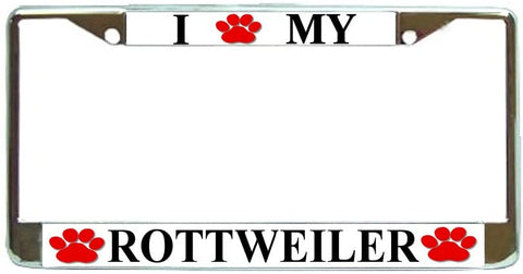 Rottweiler Love Paw Dog License Plate Frame Holder Chrome