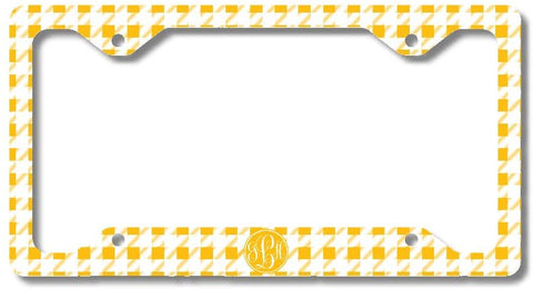 BrownInnovativeMedia Yellow Gingham Print Monogram Personalized Custom Initials License Plate Frame Car Tag