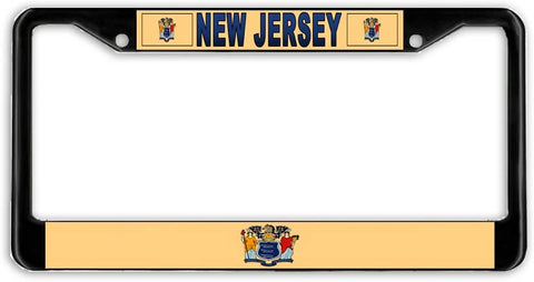 New Jersey #2 State Flag Black Metal Car Auto License Plate Frame Holder Black