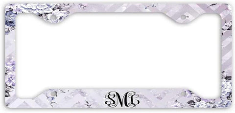 BrownInnovativeMedia Marble Chevron Floral Glitter Look Print Monogram Personalized Custom Initials License Plate Frame Car Tag