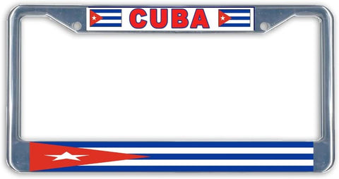 Cuba Flag Metal License Plate Frame Holder Chrome