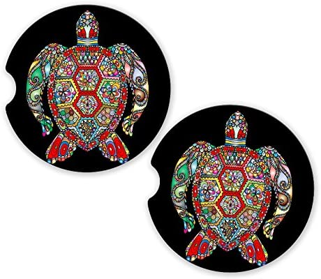 BrownInnovativeMedia Sea Turtle Mandala Colorful Sandstone Car Cup Holder Matching Coaster Set
