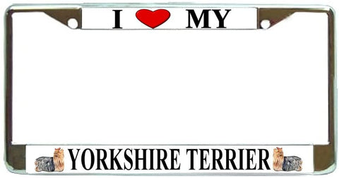Yorkshire Terrier Love My Dog Photo License Plate Frame Holder Chrome