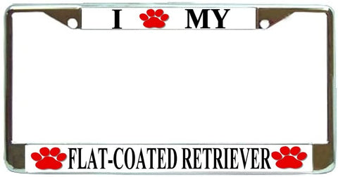 Flat Coat Retriever Love Paw Dog License Plate Frame Holder Chrome