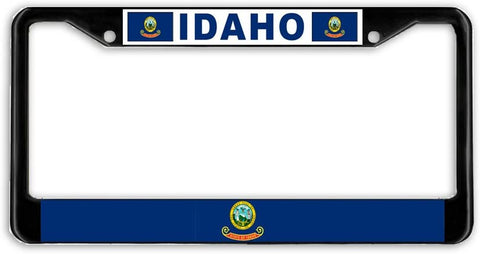 Idaho State Flag Black Metal Car Auto License Plate Frame Holder Black