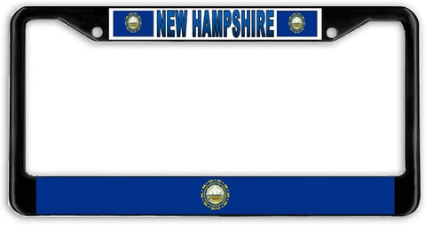 New Hampshire State Flag Black Metal Car Auto License Plate Frame Holder Black