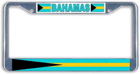 Bahamas Flag Metal License Plate Frame Holder Chrome