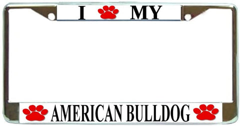 American Bulldog Love Paw Dog License Plate Frame Holder Chrome