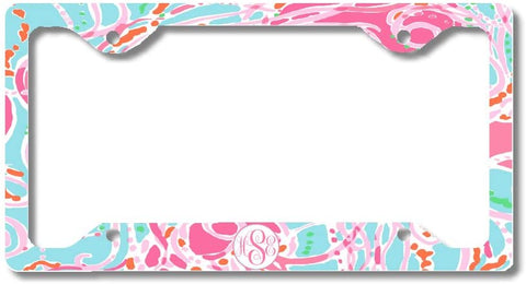 Blue Pink Jelly Fish Print Monogram Personalized Custom Initials License Plate Frame Car Tag