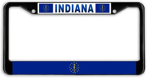 Indiana State Flag Black Metal Car Auto License Plate Frame Holder Black