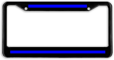 Thin Blue Line Police Support Blue Lives License Plate Frame Holder Black
