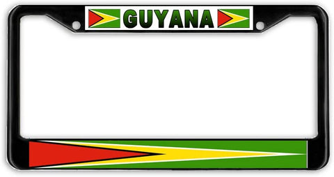 Guyana Flag Black Metal Car Auto License Plate Frame Holder Black