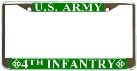 US Army 4 th Infantry Military License Plate Frame Holder Chrome …