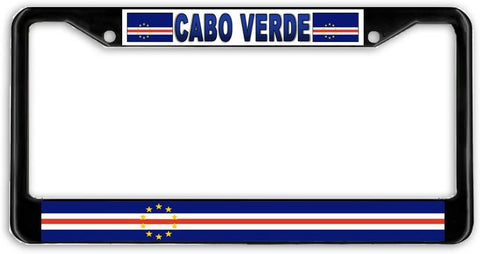 Cabo Cape Verde Flag Black Metal Car Auto License Plate Frame Holder Black