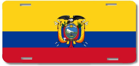 BrownInnovativeMedia Ecuador World Flag Metal License Plate Car Tag Cover