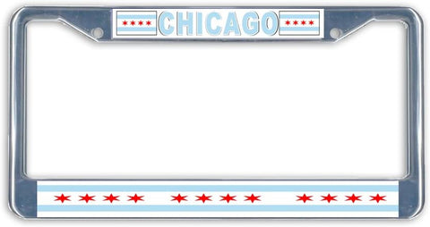 Chicago State Flag Metal License Plate Frame Holder Chrome