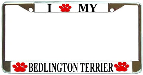 Bedlington Terrier Love Paw Dog License Plate Frame Holder Chrome