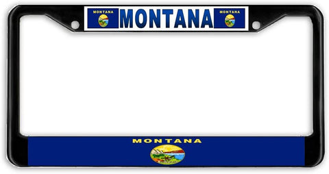 Montana State Flag Black Metal Car Auto License Plate Frame Holder Black