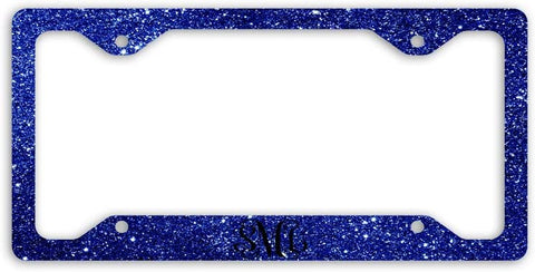 BrownInnovativeMedia Royal Blue Vine Glitter Look Print Monogram Personalized Custom Initials License Plate Frame Car Tag