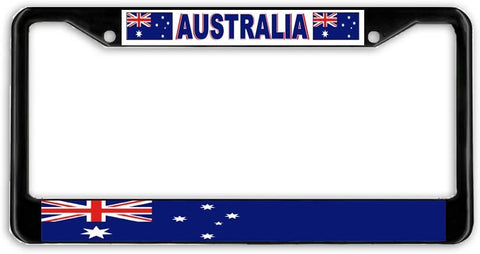 Australia Flag Black Metal Car Auto License Plate Frame Holder Black