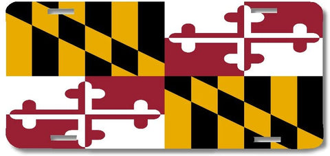 BrownInnovativeMedia Maryland State Flag Metal License Plate Car Tag Cover