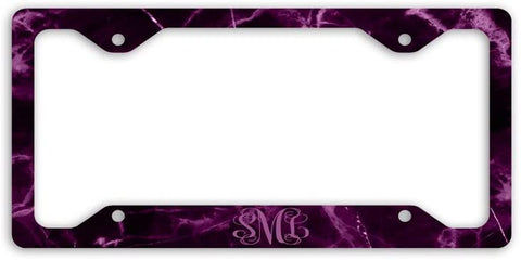 BrownInnovativeMedia Black Mauve Marble Print Monogram Personalized Custom Initials License Plate Frame Car Tag