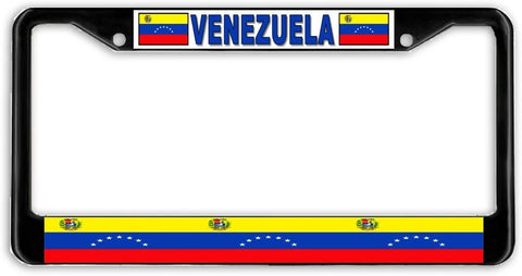 Venezuela Flag Black Metal Car Auto License Plate Frame Holder Black