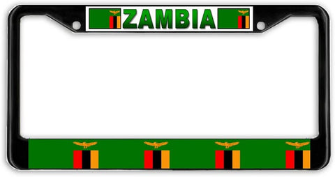 BrownInnovativeMedia Zambia Flag Black Metal Car Auto License Plate Frame Holder Black