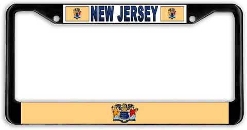 New Jersey State Flag Black Metal Car Auto License Plate Frame Holder Black