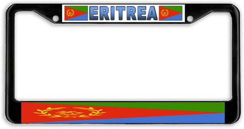 Eritrea Flag Black Metal Car Auto License Plate Frame Holder Black