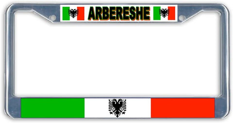 Abereshe Flag Metal License Plate Frame Holder Chrome