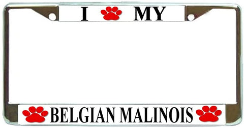 Belgian Malinois Love Paw Dog License Plate Frame Holder Chrome
