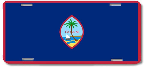 BrownInnovativeMedia Guam World Flag Metal License Plate Car Tag Cover