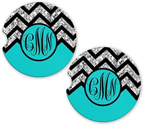 BrownInnovativeMedia Aqua Black Chevron Glitter Look Personalized Monogram Sandstone Car Cup Holder Matching Coaster Set