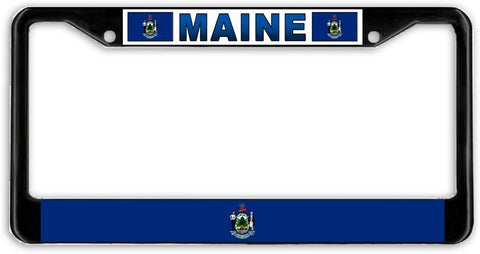 Maine State Flag Black Metal Car Auto License Plate Frame Holder Black