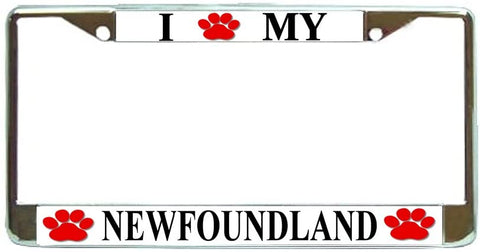 Newfoundland Love Paw Dog License Plate Frame Holder Chrome