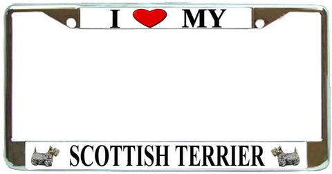 Scottish Terrier Love My Dog Photo License Plate Frame Holder Chrome