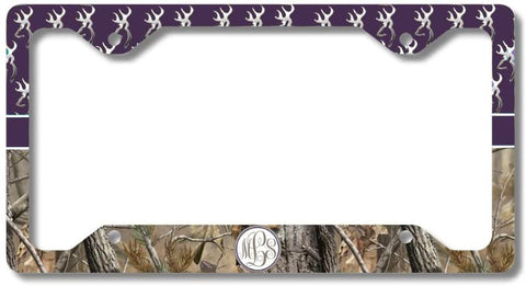 BrownInnovativeMedia Dark Purple Monogram Deer Buck Camo Print Personalized Custom Initials License Plate Frame Car Tag