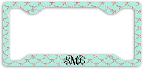 BrownInnovativeMedia Mint Gold Glitter Look Mermaid Scales Print Monogram Personalized Custom Initials License Plate Frame Car Tag