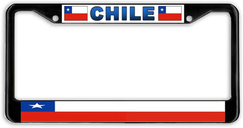 Chile Flag Black Metal Car Auto License Plate Frame Holder Black