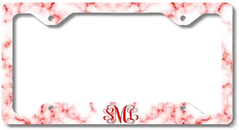 BrownInnovativeMedia White Red Marble Print Monogram Personalized Custom Initials License Plate Frame Car Tag