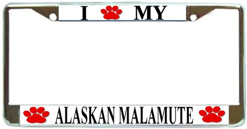 Alaskan Malamute Love Paw Dog License Plate Frame Holder Chrome