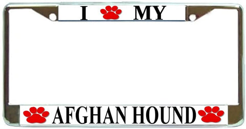 Afghan Hound Love Paw Dog License Plate Frame Holder Chrome
