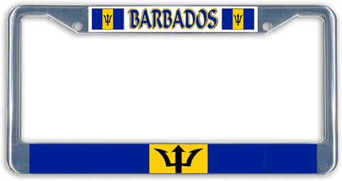 Barbados Flag Metal License Plate Frame Holder Chrome