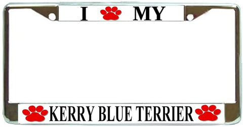 Kerry Blue Terrier Love Paw Dog License Plate Frame Holder Chrome