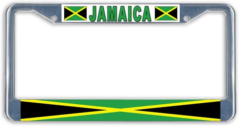 Jamaica Flag Metal License Plate Frame Holder Chrome