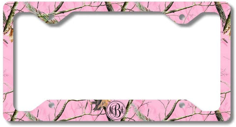BrownInnovativeMedia Monogram Pink Camo Print Monogram Personalized Custom Initials License Plate Frame Car Tag