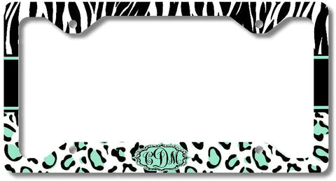 Leopard Mint Zebra Print Monogram Personalized Custom Initials License Plate Frame Car Tag