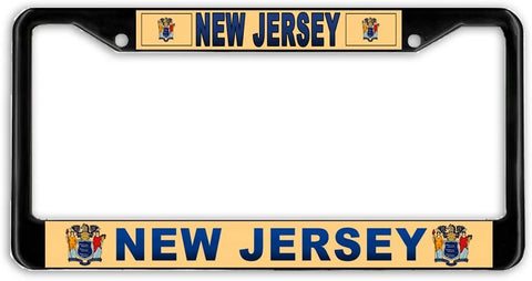 New Jersey #3 State Flag Black Metal Car Auto License Plate Frame Holder Black