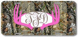 Hot Pink Monogrammed Deer Antlers Camo Print Monogrammed Personalized Custom Initials License Plate Car Tag